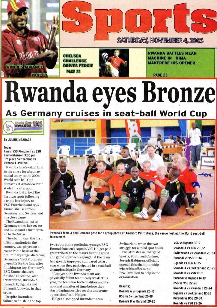 Zeitungsartikel Rwanda Sports